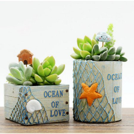 1PCS Mini Cartoon Flower Pot Creative Plant Pot Home Office Decoration Gift Square