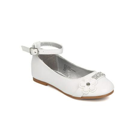 New Girl Little Angel Ashley-914D PU Rhinestone Daisy Ankle Strap Ballerina Flat - White Girls Flats