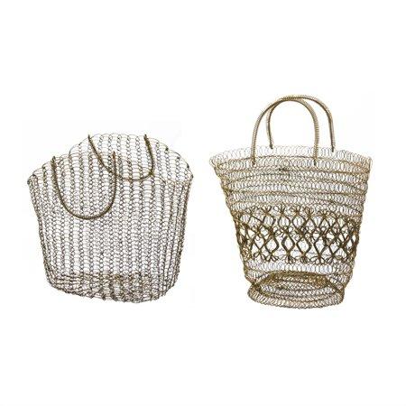 Evergreen Basket (Metal Woven Basket, Set of 2)