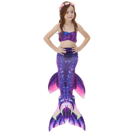 1c3b2c03f52 Yosoo 3pcs Kids Girls Swimsuit Bikini Set with Mermaids Tail Sea-maid  Swimming Costumes, Girls Sea-maid Swimwear, Girls Mermaid Bikini Set