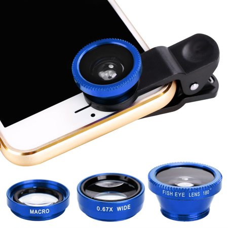 ! 3 in1 Fisheye Wide Angle Macro Camera Lens Kit Clip On for Mobile Cell Phone (Revo Blue Lens)