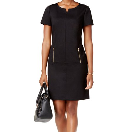 Zip Detail Sheath Dress - Connected Apparel NEW Black Womens Size 16 Two Zip-Pocket Sheath Dress