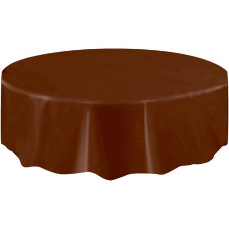 (2 pack) Plastic Round Tablecloth, 84 in, Brown, 1ct - Round Tablecloths Plastic