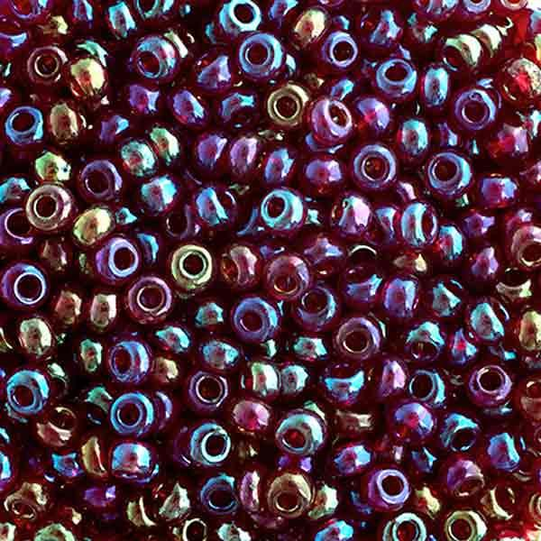6/0 Tr Iris Red Glass Seed Beads 40 Grams