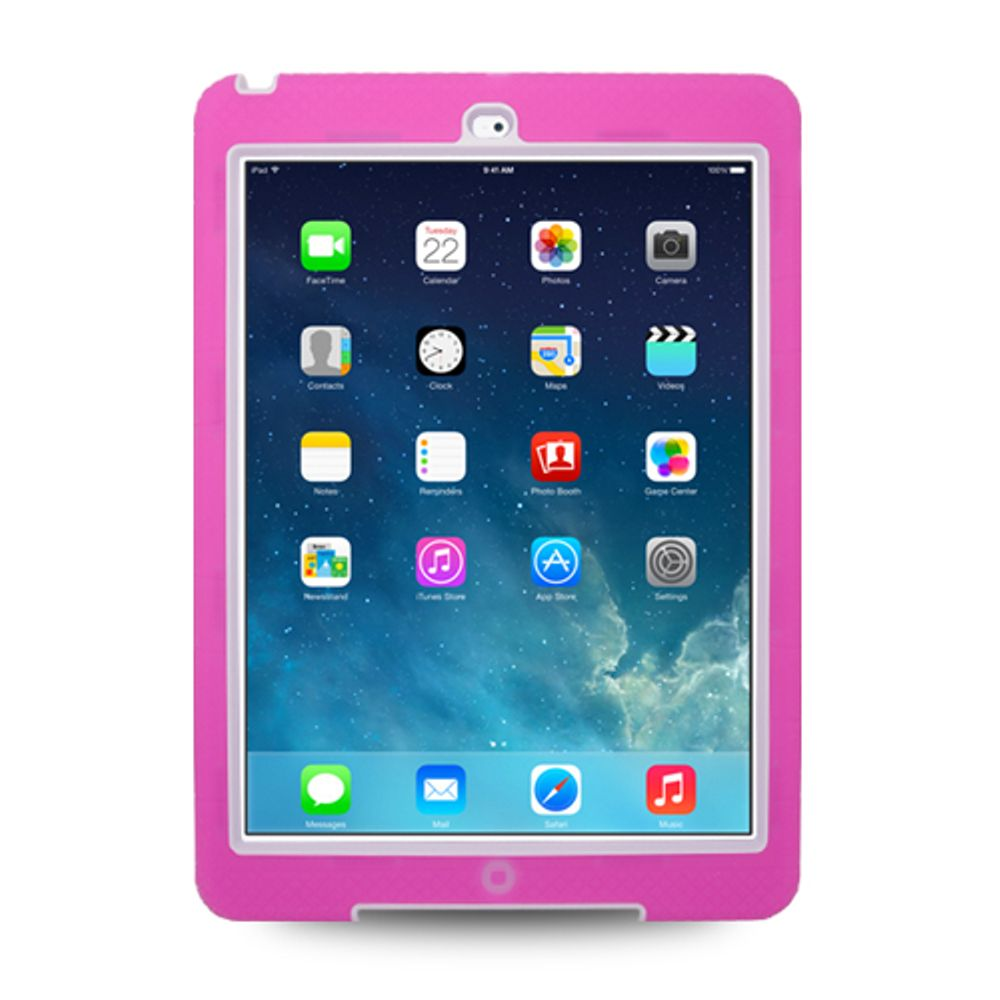 iPad Air Case cover, by Insten Hybrid Dual Layer Stand Rubber Silicone/PC Case Cover For Apple iPad Air - Hot Pink/White - image 2 de 3