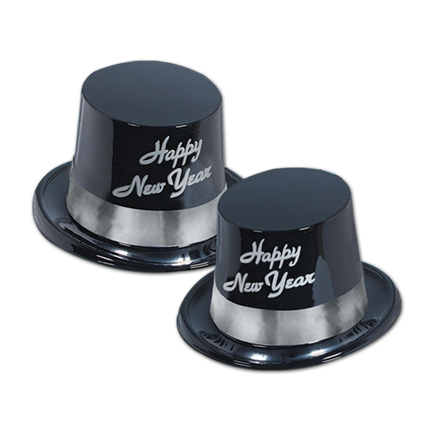 """Club Pack of 25 Festive """"Happy New Years"""" Silver Legacy Party Favor Hats"""