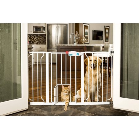 Carlson Extra Wide Expandable Pet Gate With Small Door