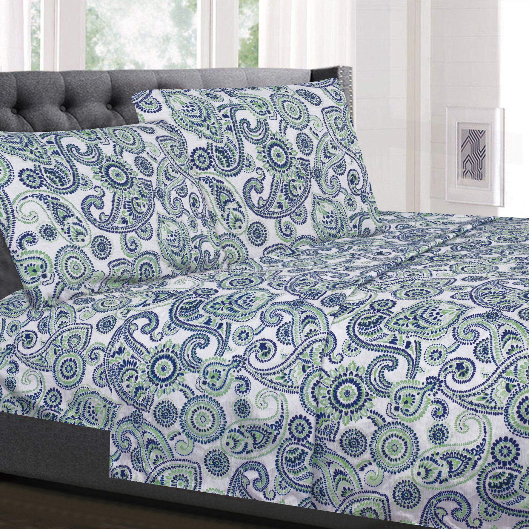 Modern Paisley Pattern Blue and Green 4-Piece 1500 Supreme Collection Sheet Set