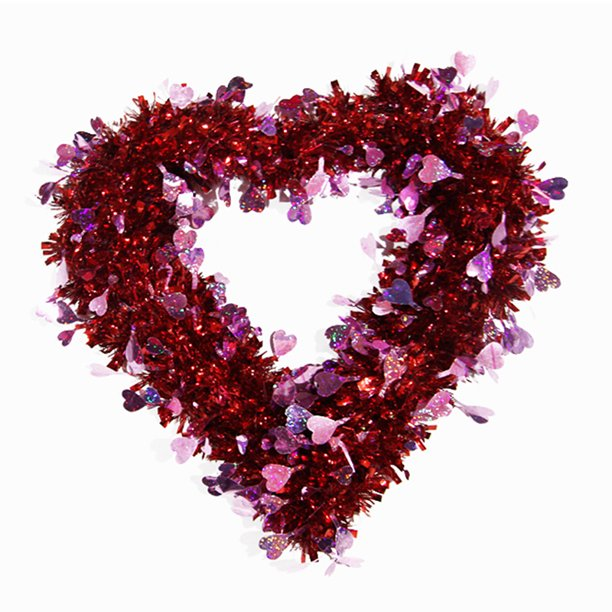Valentine S Day Wreath For Front Door Tinsel Heart Shaped Wreath Hanging Wall Decorations Valentines Outdoor Décor Walmart Com Walmart Com