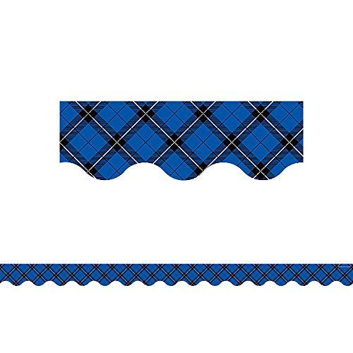 Yellow Plaid Scalloped Border Trim (5662), 12 pieces per pack By Teacher Created Resources