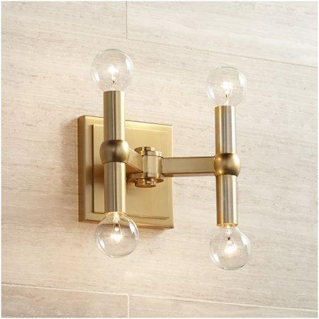 Possini Euro Design Mid Century Modern Wall Light Sconce Dark Satin Brass 5 1/2