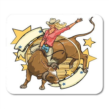 JSDART Girl Rodeo Cowgirl Riding Bull Space Western Vintage Bar American Mousepad Mouse Pad Mouse Mat 9x10 inch - image 1 de 1