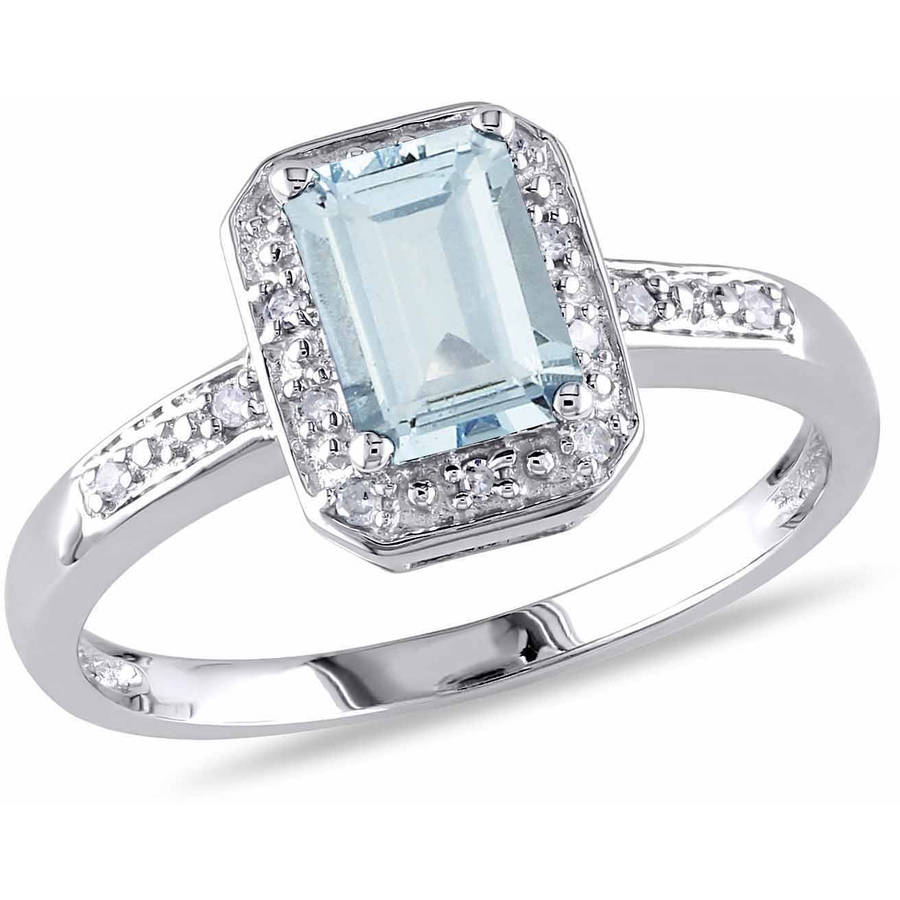Tangelo 1 Carat T.G.W. Emerald-Cut Aquamarine and Diamond-Accent 10kt White Gold Halo Cocktail Ring by Delmar Manufacturing LLC