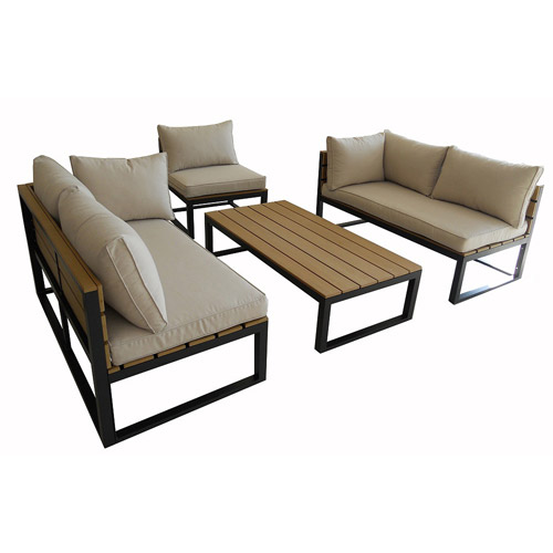 All-Weather Conversation Chair and Coffee Table, Natural\/Black