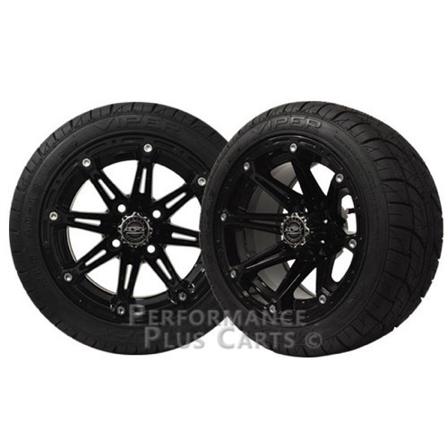 Element 12x6 Black Golf Cart Wheels with Low Profile Street Tires - Set of 4