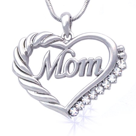 cocojewelry Mother's Day MOM Word Engraved Heart Love Pendant Necklace Gift For Mom ()