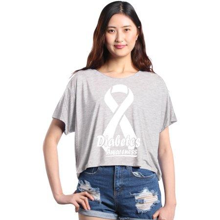 Shop4Ever Women's Diabetes Awareness Ribbon Support Flowy Boxy T-Shirt - Diabetes Awareness Ribbon