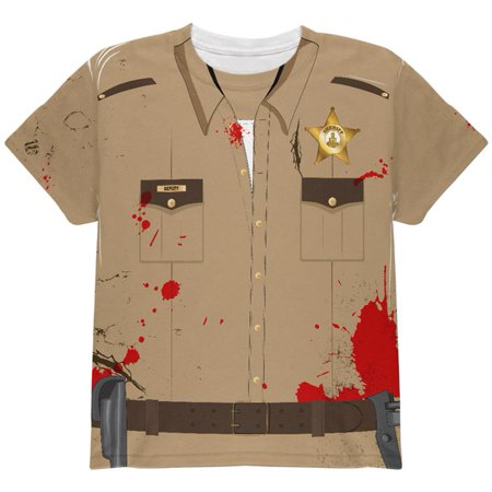 Shenae Grimes Halloween (Halloween Zombie Grime Sheriff Walker All Over Youth T)