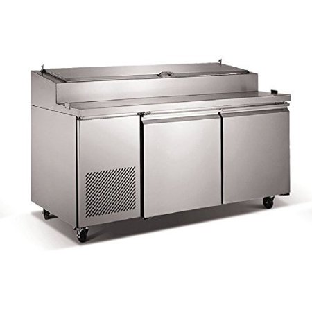Pizza Salad Sandwich Food Preparation Table 71 Inch L Two Door Refrigerated 16 Cu. Ft. Poly Cutting Board, Restaurant Commercial Grade 304 Stainless Steel - 9 Pans - ETL NSF Certified Model PICL2 2 Door Refrigerated Salad Top