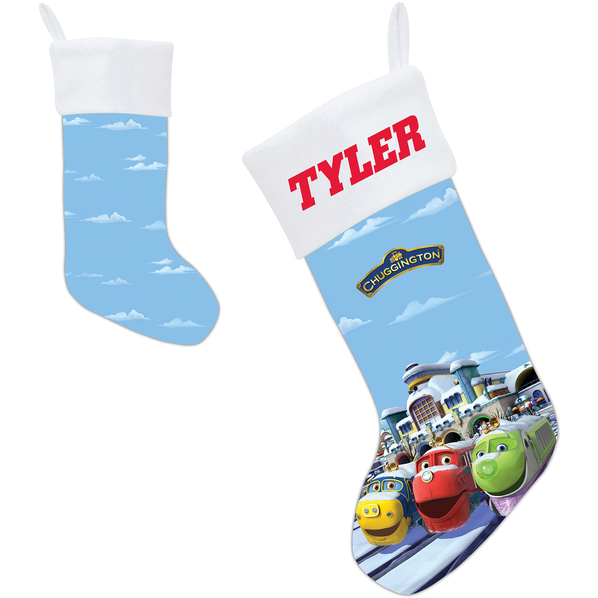 Personalized Chuggington Snow Plowing Fun Christmas Stocking