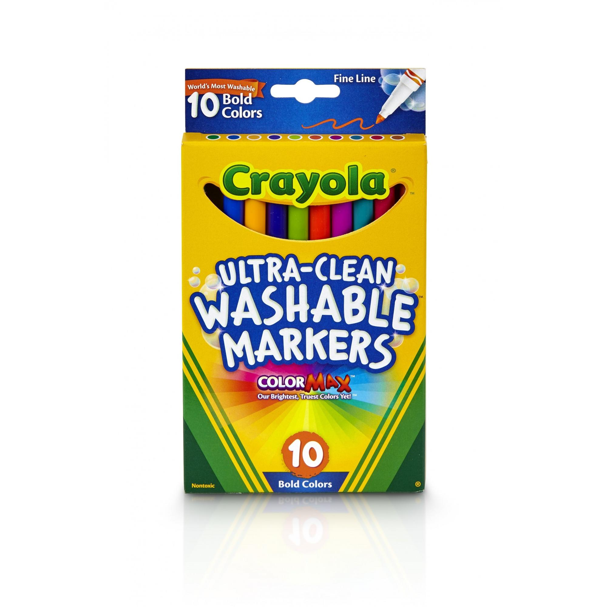 Crayola Ultra-Clean Bold Fine Line Marker, 10 Count