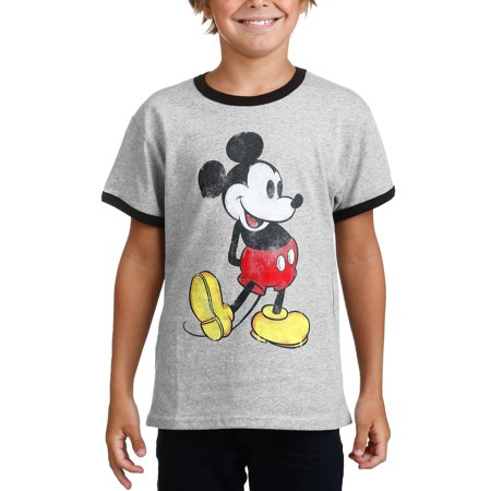 Youth Boys Mickey Mouse Classic Ringer T-Shirt Gray Size (Gray Ringer)