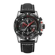 MEGIR 2130 Rugged Quartz Men Watch 3ATM Waterproof Sports Male Watch Calendar Sub-Dials Chronograph Wristwatch for Men with Leather Strap Band
