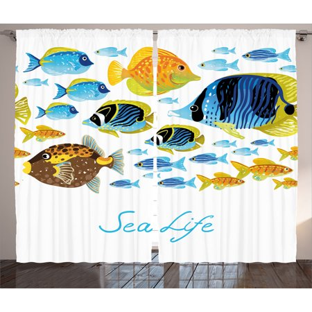 Ocean Animal Decor Curtains 2 Panels Set, Vivid Underwater Life with Freshwater Tropical Fish Creatures Sea Artwork, Window Drapes for Living Room Bedroom, 108W X 84L Inches, Multi, by Ambesonne