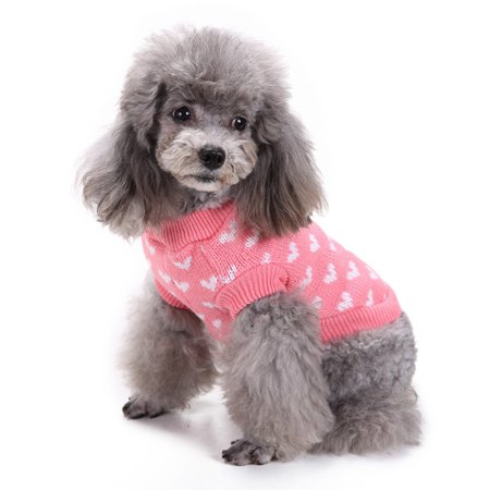 Pink Heart Round Neck Small Pet Dog Cute Clothes Puppy Sweater