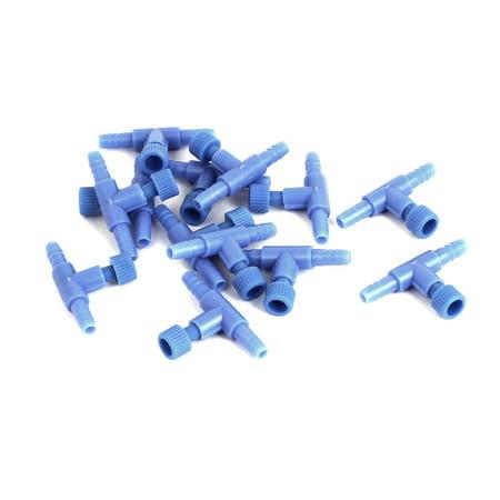 Aquarium Blue Plastic 2 Way Pump Air Valves Splitter Tube Connector 13Pcs
