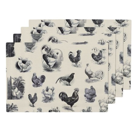 Cloth Placemats Farm Animal Rooster Strut Cream Black Toile Vintage Set of 4