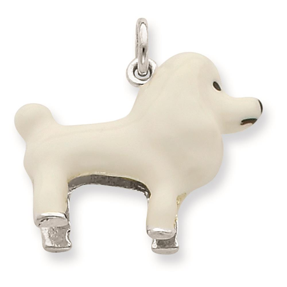 925 Sterling Silver White Enamel Poodle Enameled Pendant 20mmx20mm