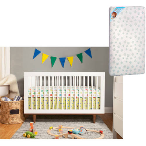 Baby Mod Marley 3-in-1 Convertible Crib, Choose Your Finish with Bonus Mattress
