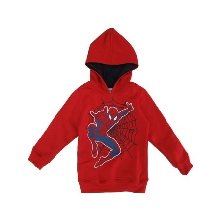 Marvel Little Boys Red Spider-Man Print Hooded Long Sleeved Top