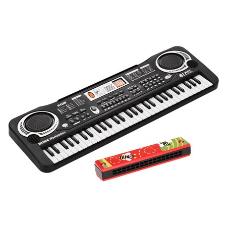 61 Keys Electronic Digital Piano Keyboard with Dual Speakers Microphone USB/Battery Powered + Tremolo Harmonica 16 Holes Kids Musical Instrument Educational Toy Wooden Cover Colorful Free Reed Wind In - image 1 of 7