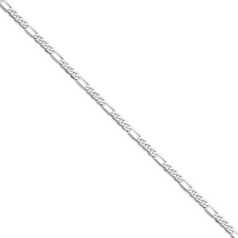 4.5mm, 14k White Gold, Flat Figaro Chain Necklace, 18 Inch by Black Bow Jewelry Company