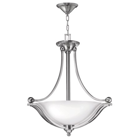 Bolla 3-Light Foyer in Brushed Nickel w/ White Opal Glass