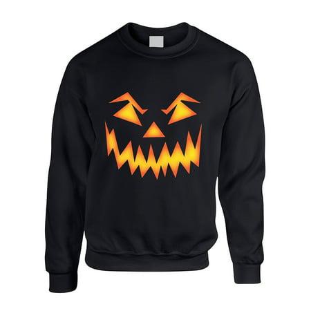 Allntrends Adult Crewneck Angry Pumpkin Face Halloween Costume Top Idea