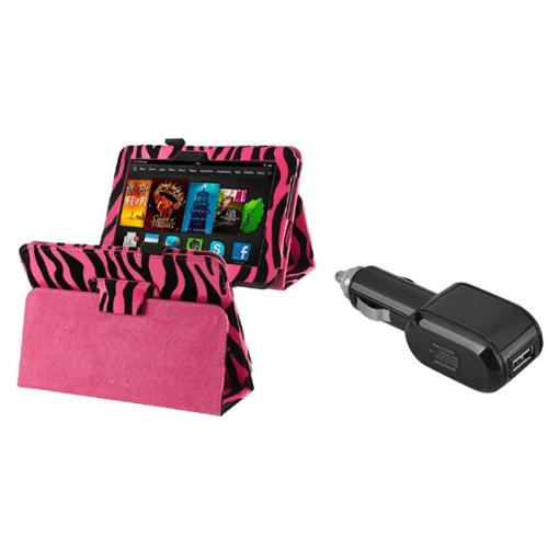 Insten Pink Zebra PU Leather Case+Car Charger For Kindle Fire HD 7...