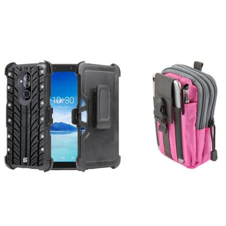 BC Rugged Dual Layer Armor Kickstand Holster Case (Tire) with Pink Gray Tactical EDC MOLLE Waist Bag Holder Pouch and Atom Cloth for Alcatel 7