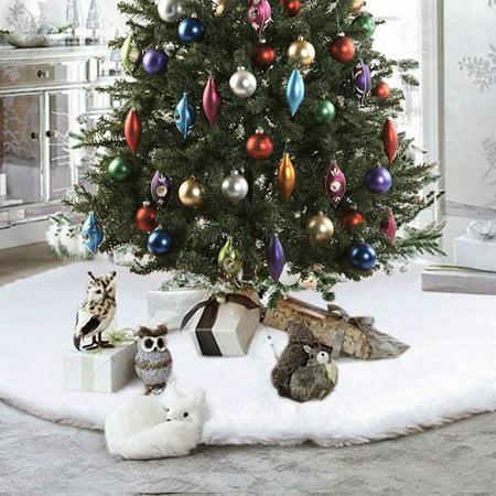 White Snowflake Christmas Tree Skirt Base Floor Mat Cover Decor Long Plush 31