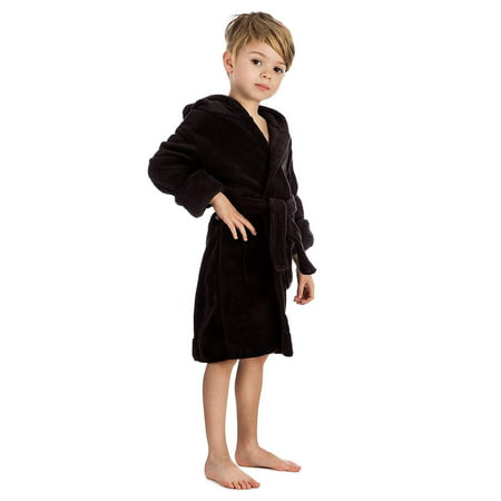 - Elowel Boys Girls Hooded Black Childrens Toddler Fleece Sleep Robe Size 14Y