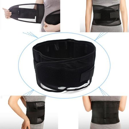 - Unisex Adjustable Double Pull Breathable Lumbar Lower Back Pain Support Belt Brace Protector Compression Strap,Black