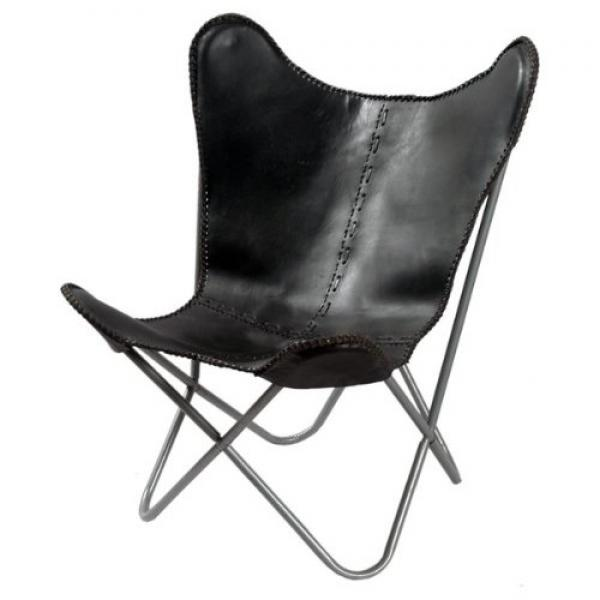 Leather Butterfly Chair in Black