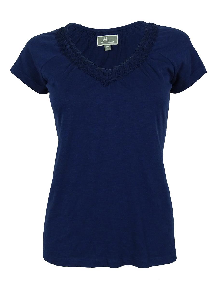 Women's Soutache Neck Short Sleeves Cotton Shirt