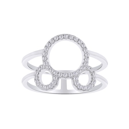 Stunning Round Cut White CZ Mickey Mouse Open Ring In 14K White Gold Over Sterling Silver