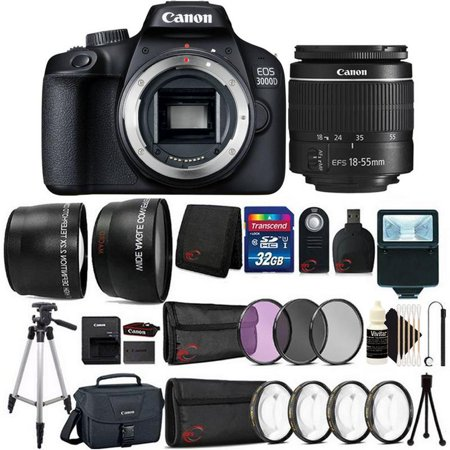 Canon EOS 3000D / Rebel T100 SLR Camera w/ 18-55mm Lens and 32GB Best Value Kit