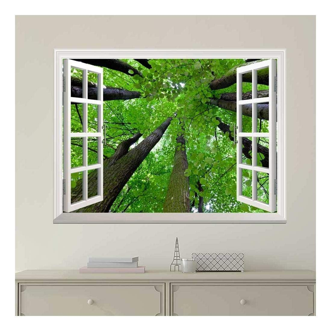 wall26 Modern White Window Looking Out Into the Top of the Trees - Wall Mural, Removable Sticker, Home Decor - 36x48 inches