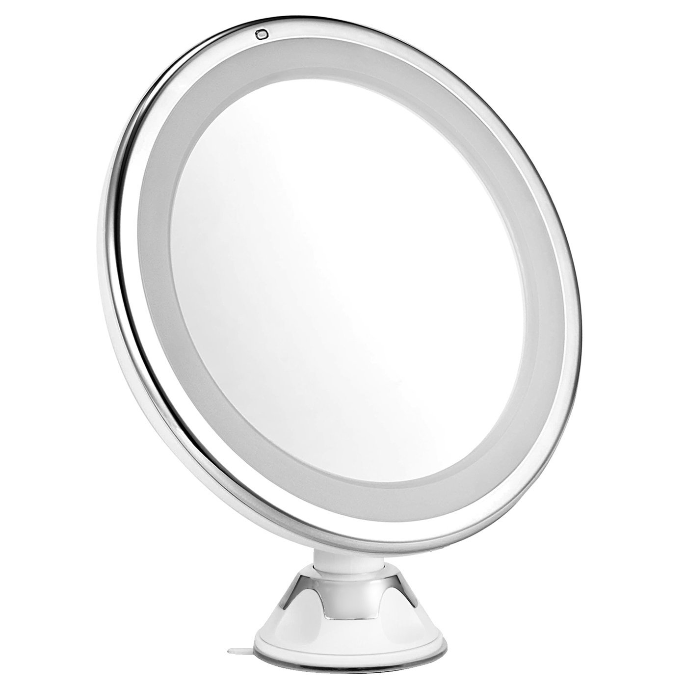 oak leaf led magnifying adjustable 360 degree rotating lighted makeup mirror with 7x and suction - Lighted Vanity Mirror