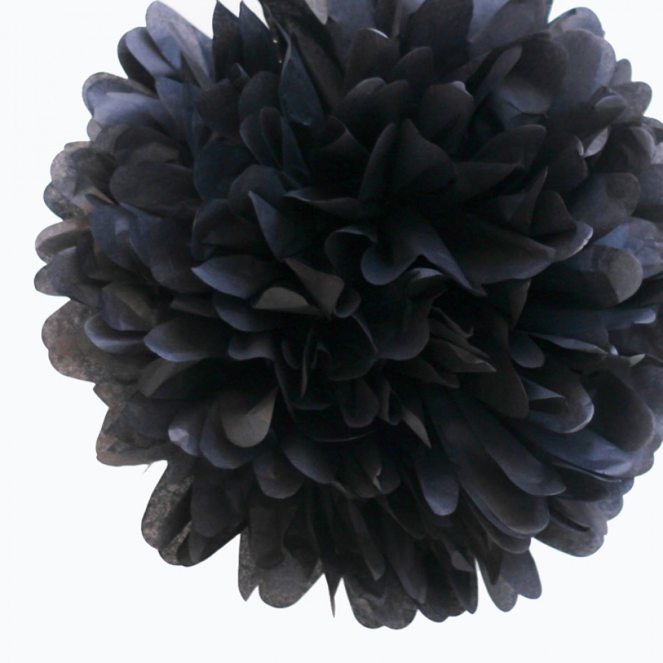 Quasimoon EZ-FLUFF 8'' Black Tissue Paper Pom Pom Flowers, Hanging Decorations (4 Pack) by PaperLanternStore